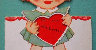Vintage Valentine's Day Card Redhead Girl Holding Heart