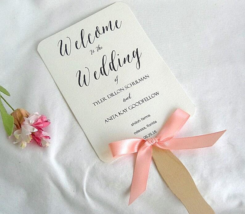 Wedding Program Fans Rustic Wedding Fans Ivory Kraft Peach