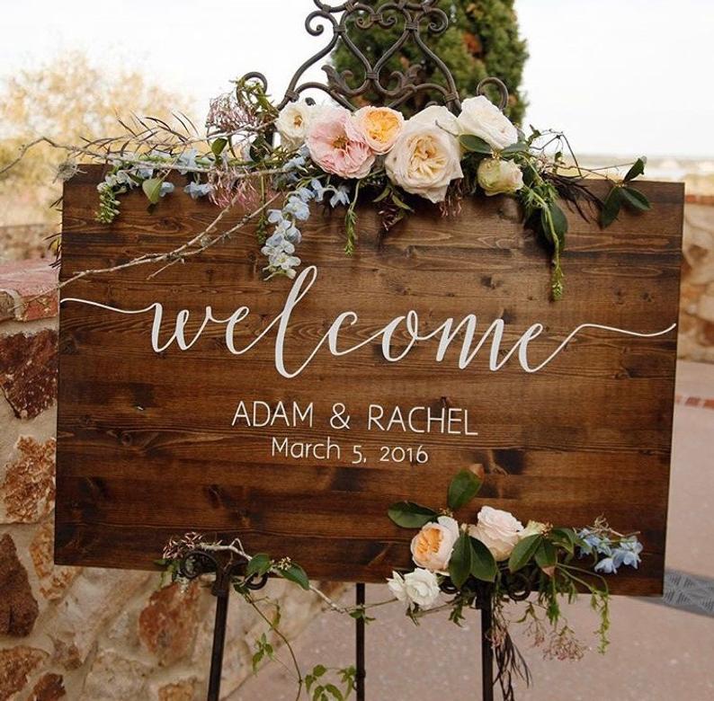 Wedding Welcome Sign  Rustic Wood Wedding Sign  Sophia