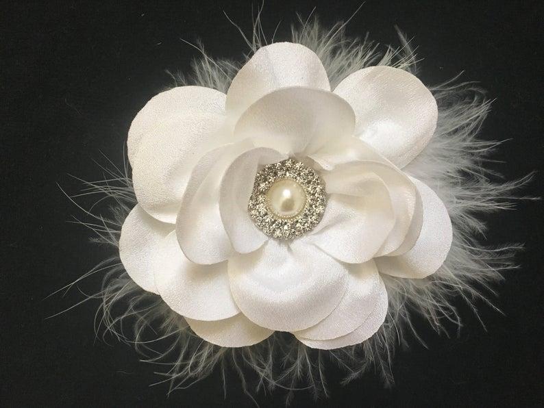 White Flower Hair Clip White Hair Clip Floral White Clip