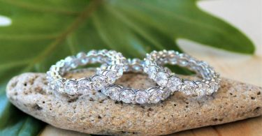 White Gold Cubic Zirconia Ring / Quality 14k Gold Sparkling
