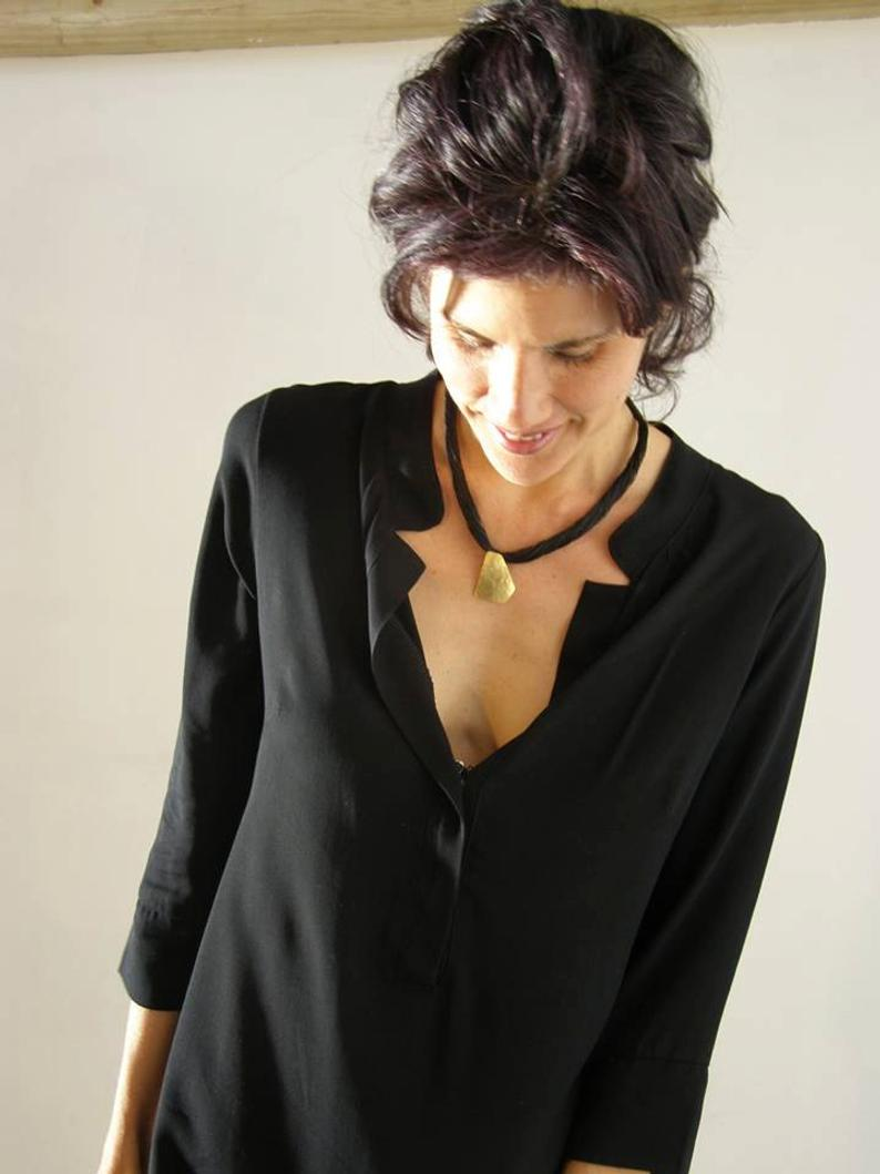 Women's Black Tunic Black Women Kaftan Oversized Shirt