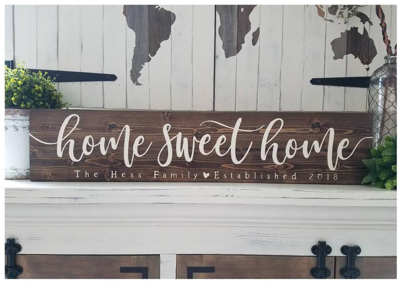 Wood Last name sign Family name sign Home sweet home sign
