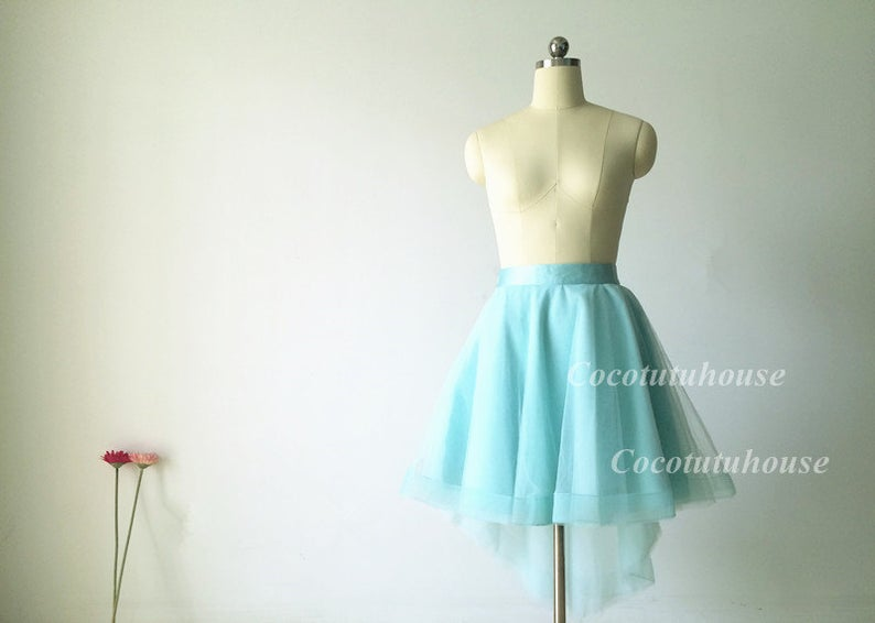 Aquamarine Hi Low Tulle Skirt /Adult Women Horsehair Tulle