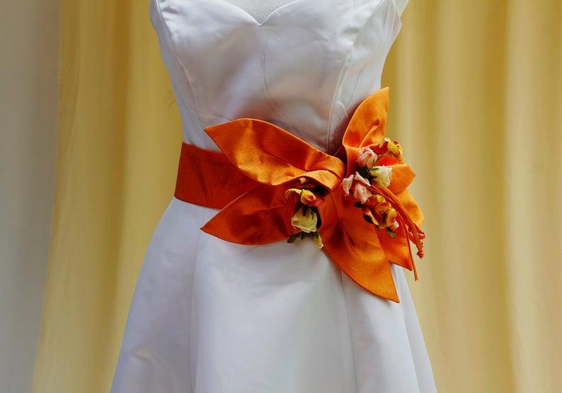 Astonishing Wedding Dress Waist Sash in Bright Shiny Orange