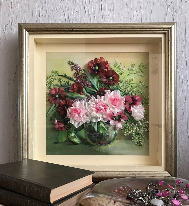 Beautiful needlework an embroidered picture a picture on the