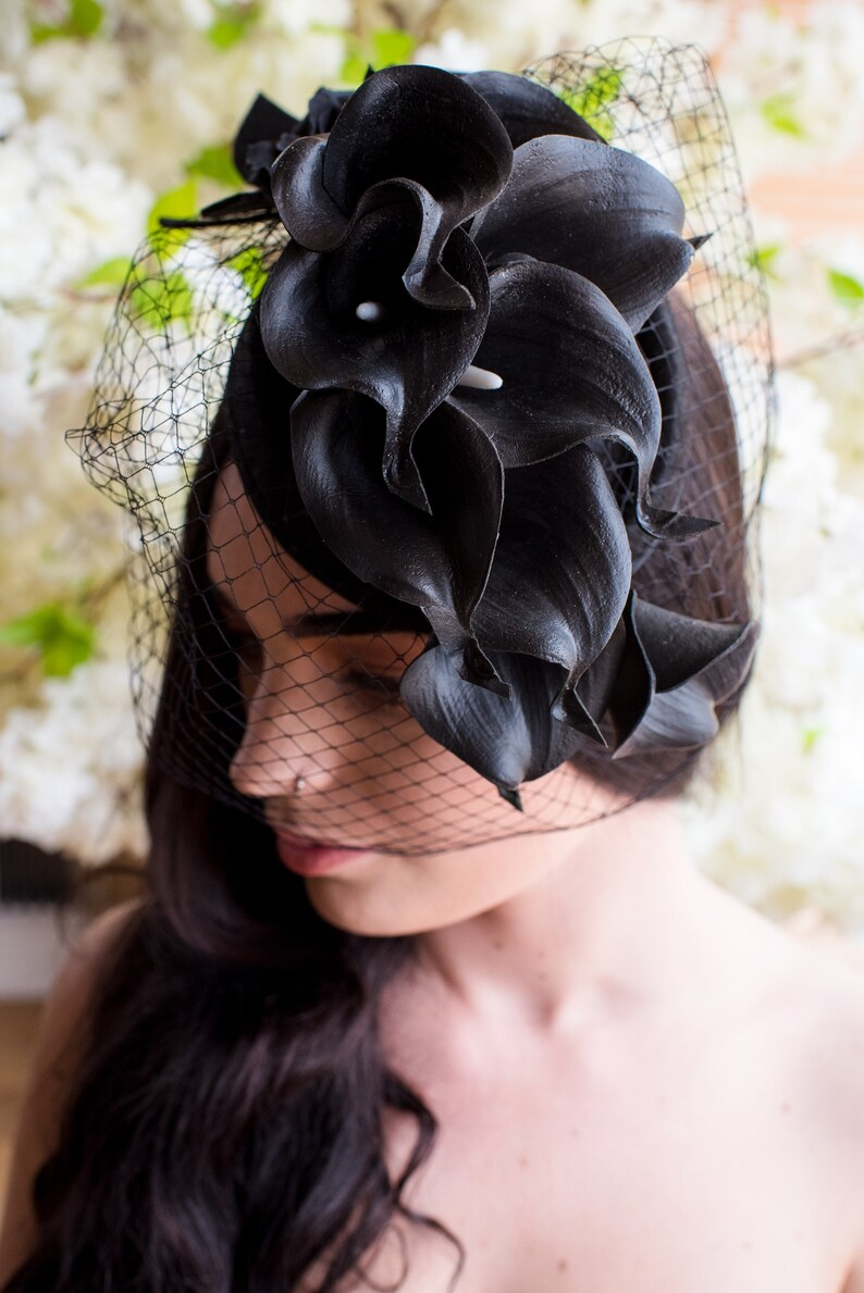 Black Calla Lily real feel Ascot Felt Veil Fascinator Hat