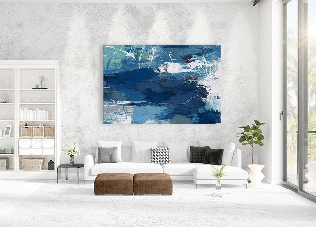 Blue Abstractions, Giant Canvas Print by PI Studio