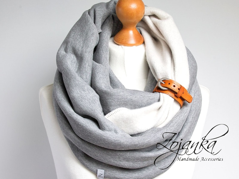 CHUNKY Infinity scarf with leather strap hooded scarf for