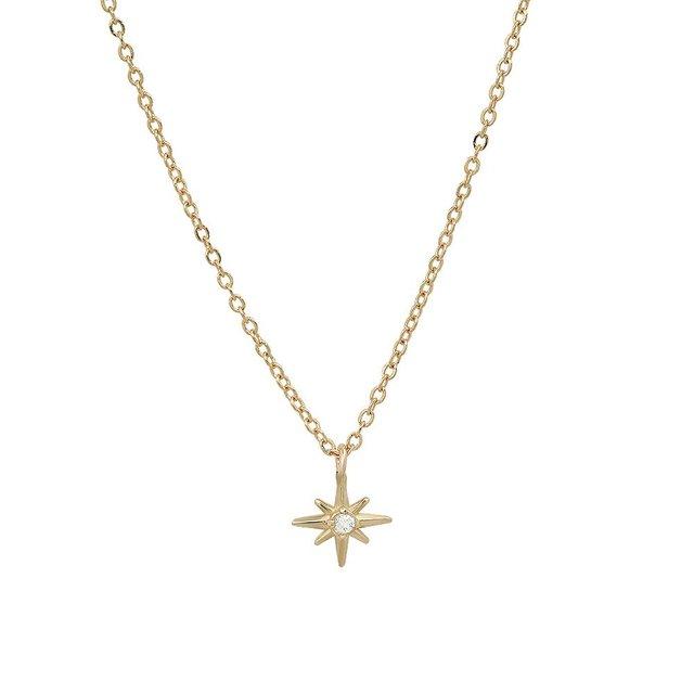 """Celestial"" 14K Gold Tiny North Star Pendant with Diamond, Ruby, Sapphire"