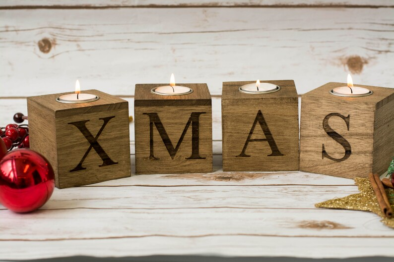 Christmas home decor Merry & Bright Christmas Candle Holders
