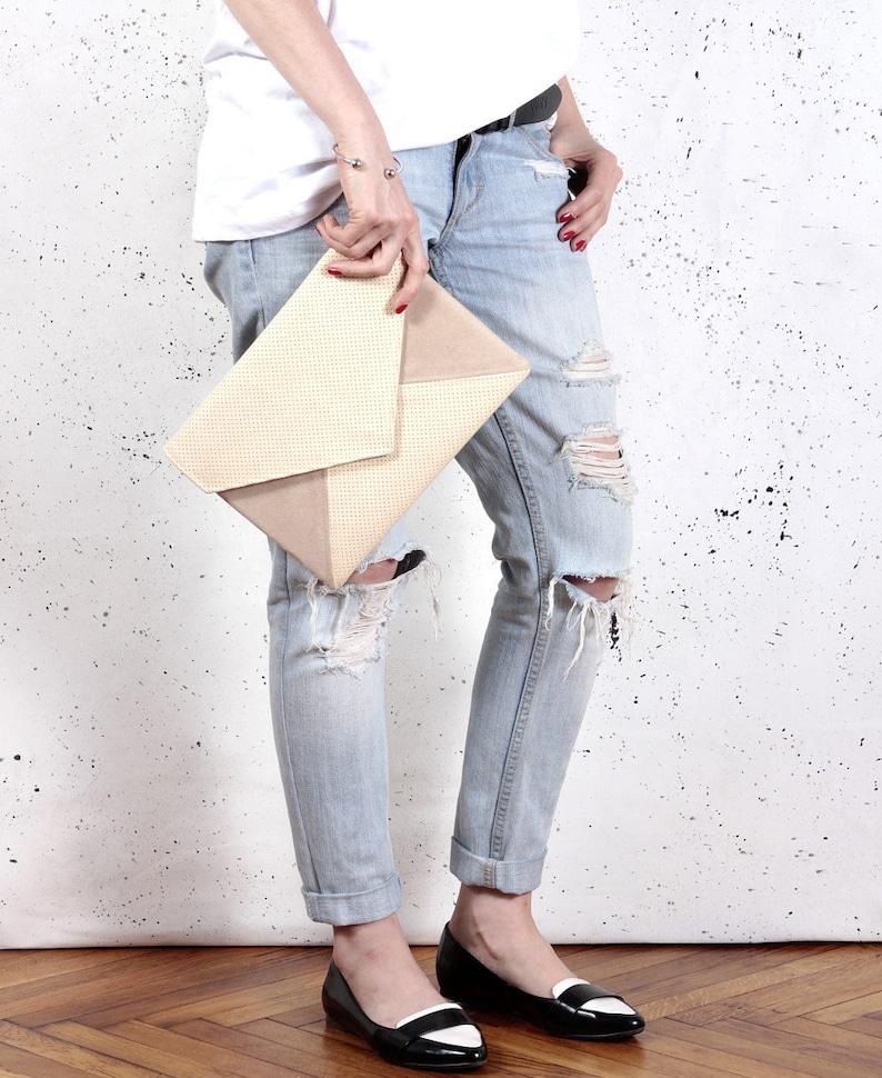 Clutch bag envelope beige perforated vegan leather bag faux