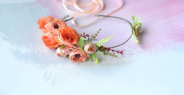 Coral flower headband Wedding crown Coral peony crown Bridal