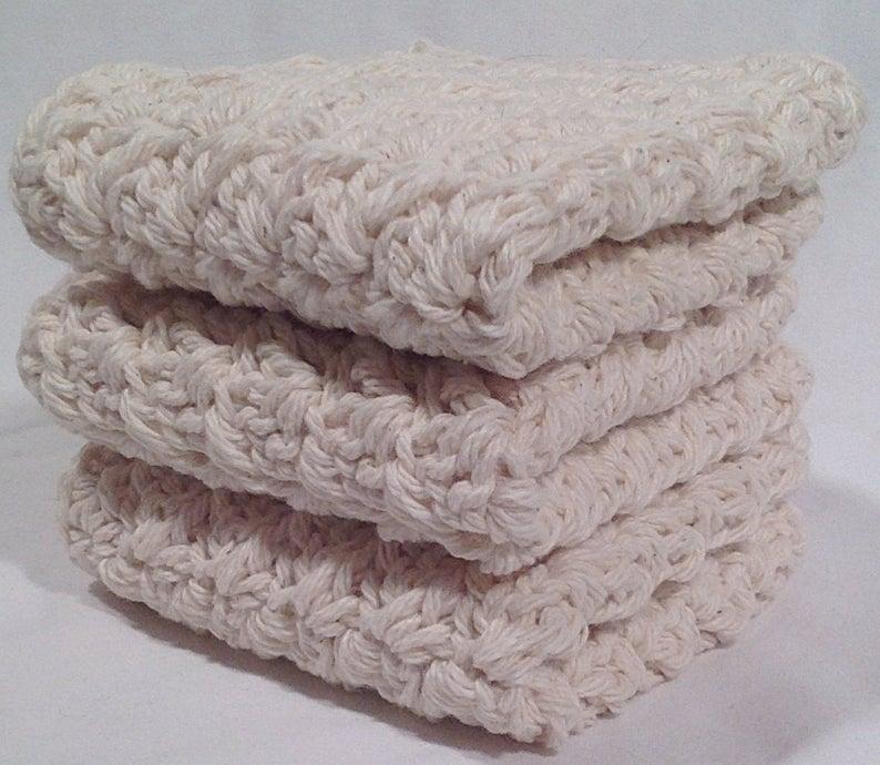 Cotton Crochet Washcloth Set  Natural