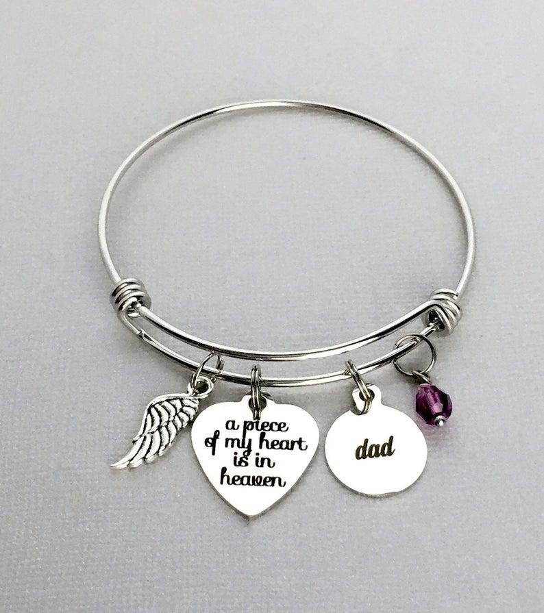 DAD Memorial Bracelet A Piece of My Heart is in Heaven Loss