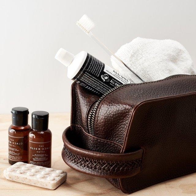 Dark Brown Leather Barber Toiletry Dopp Kit