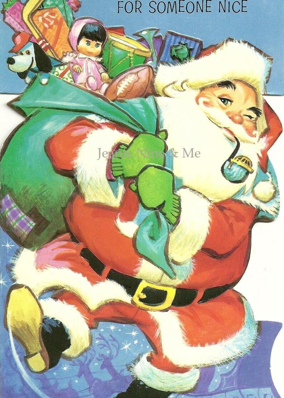 Digital Santa Card  Christmas Clipart Instant Download