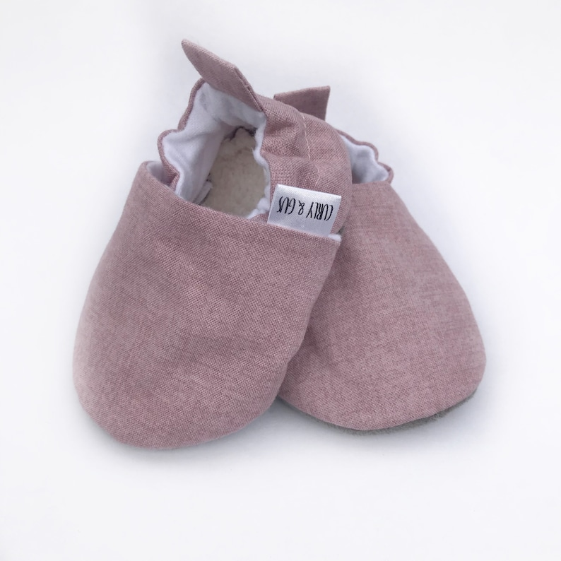 Dusty Rose Baby Shoes Pink Baby Girl Shoes Soft Soled Baby