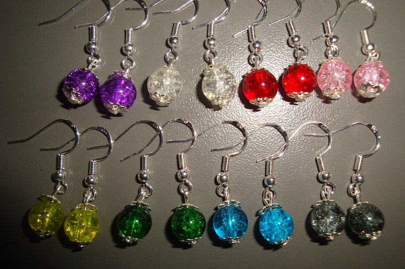 Earring silver hook 925 different color glass bead silver