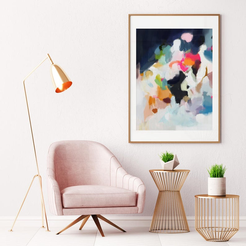 Eliza Large Giclee Abstract Print 9×12 30-40in pink