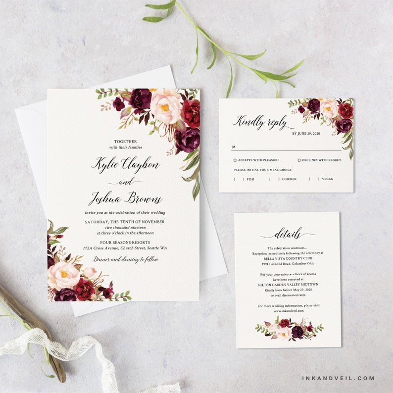 Fall Floral Wedding Invitation Suite Instant Download