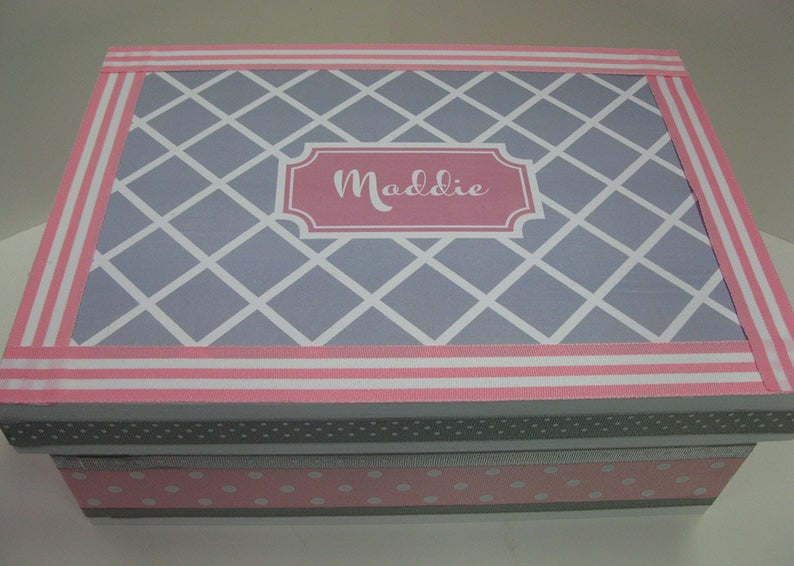 Girl's Personalized Keepsake Box Pink and Gray Birthday