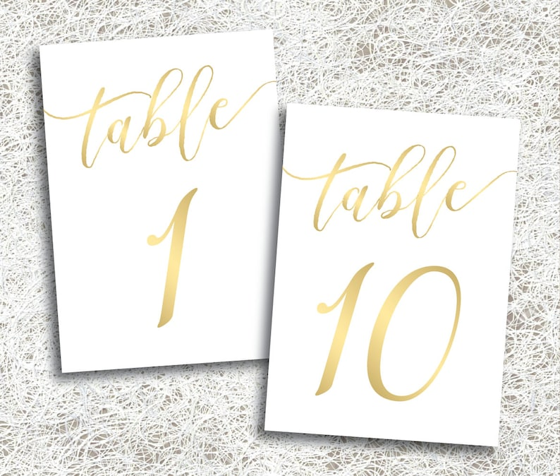 Gold Wedding Table Numbers 1  10  PRINTABLE Instant Download