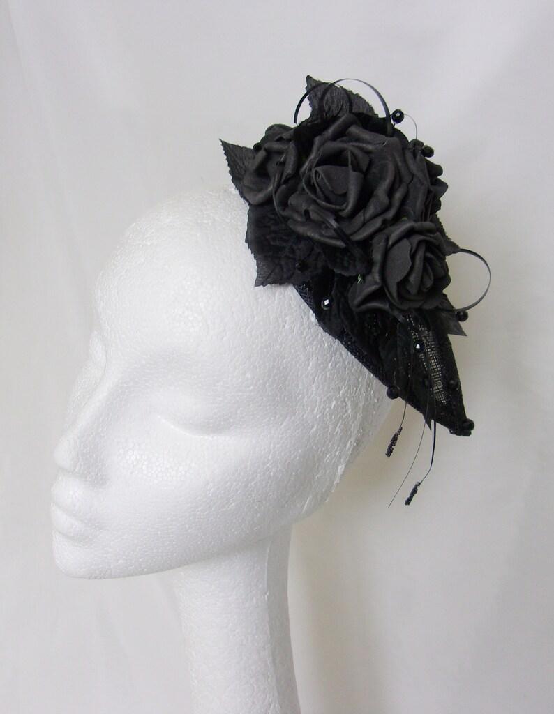 Gothic Black Rose Fascinator Retro Rose Spray Cluster Teardrop