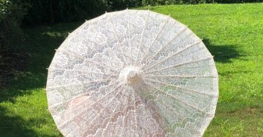 Ivory White Lace Cotton Parasol for Wedding Pictures Wedding