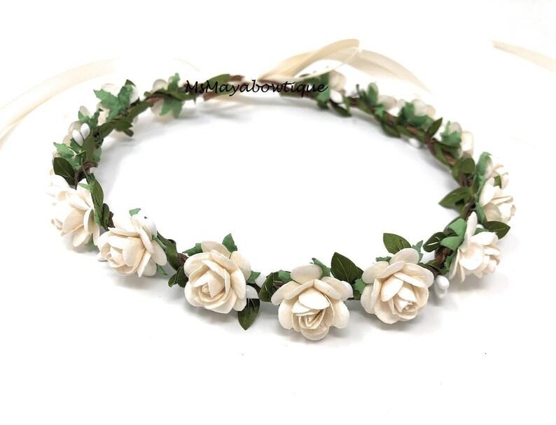 Ivory flower crown flower girl crown flower crown wedding