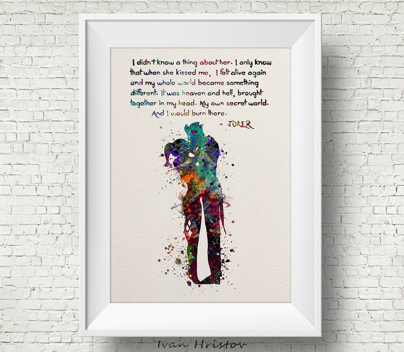 Joker and Harley Quinn Inspired Quote Colorful 1 Watercolor