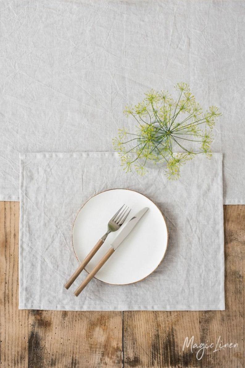Light gray linen placemats set. Linen placemats.  Set of 2