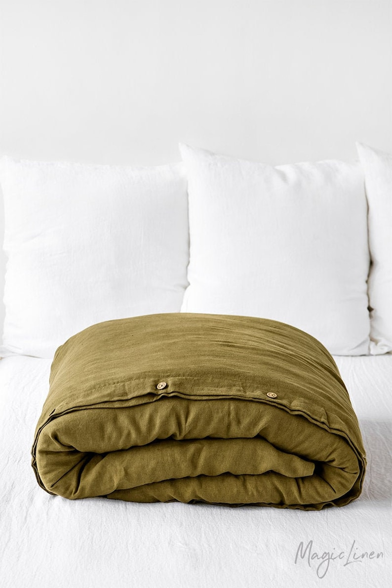 Linen duvet cover in Olive Green. Washed linen bedding. Custom