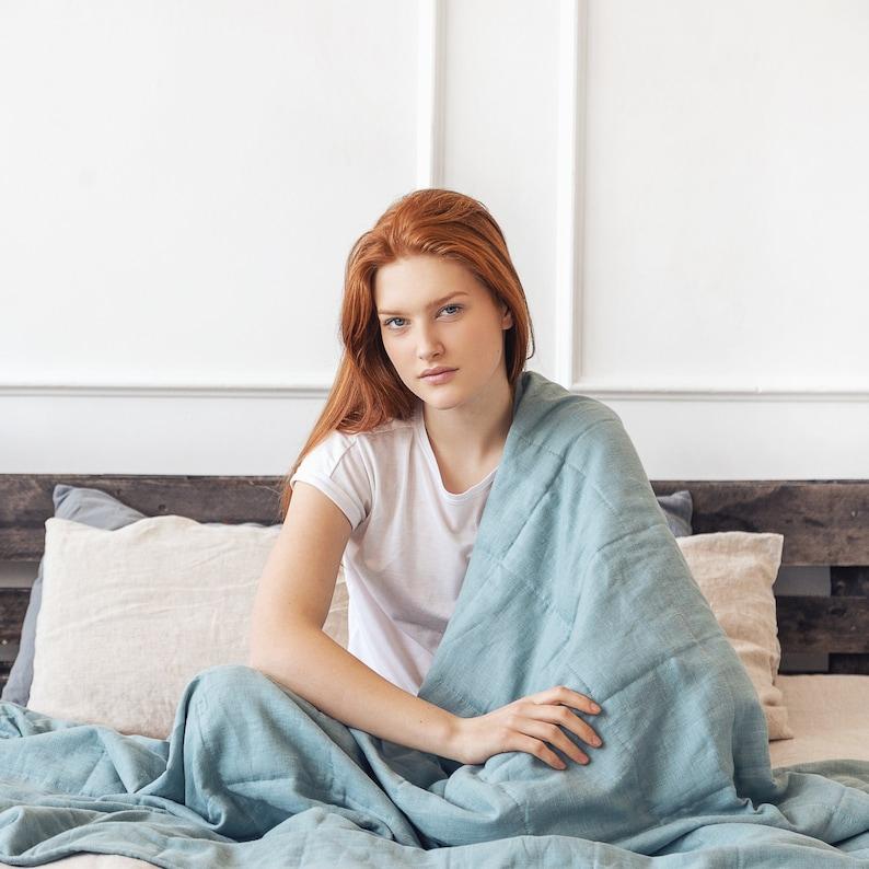 Linen weighted blanket sensory blanket heavy blanket