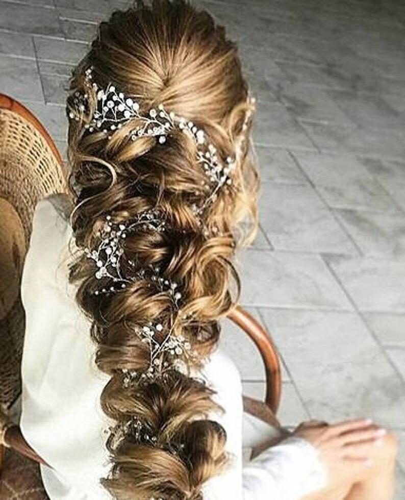 Long Bridal Hair Vine Swarovski Crystal and Pearl Wedding Hair