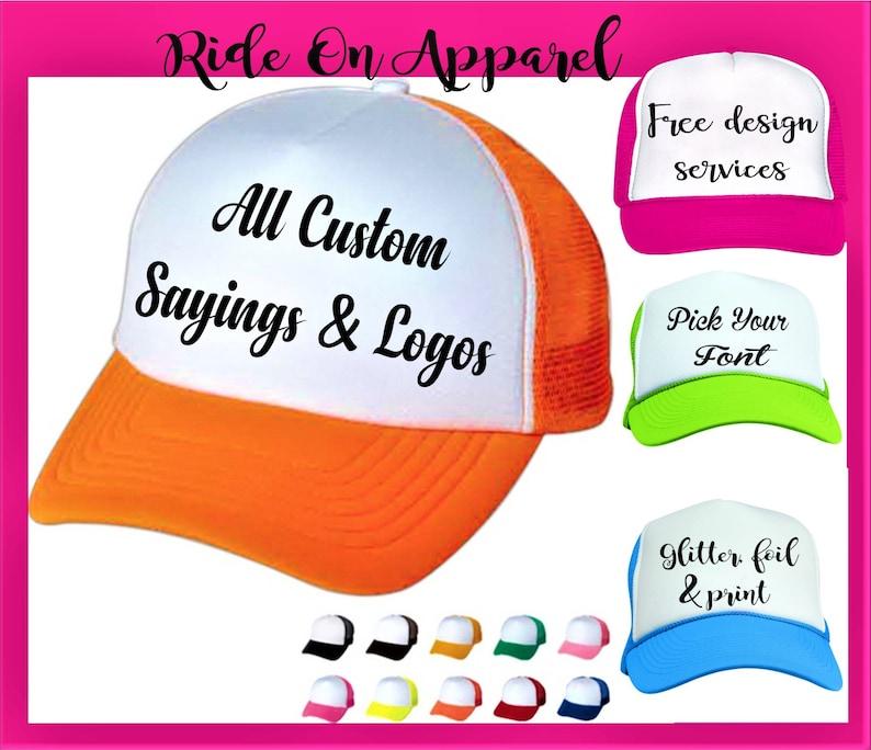 NEON PARTY HATS Bride Squad Hats DesignYour Own/ Neon Trucker