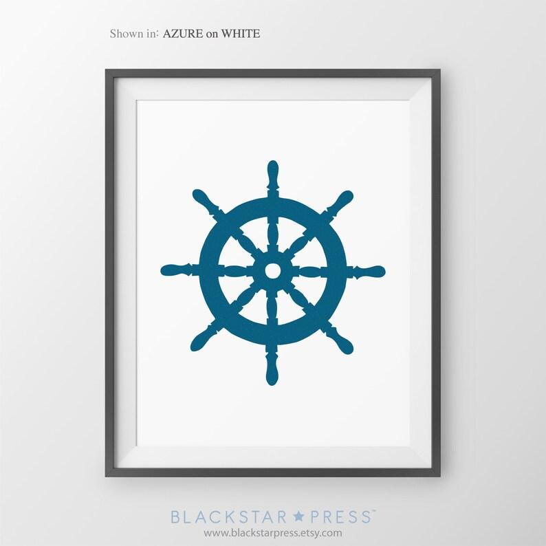 Nautical Decor Ship's Wheel Print Captain Steerling