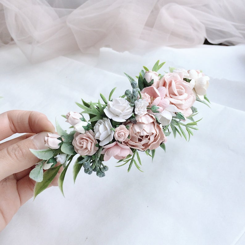 Pale pink and white and grenery headpiece floral hair piece