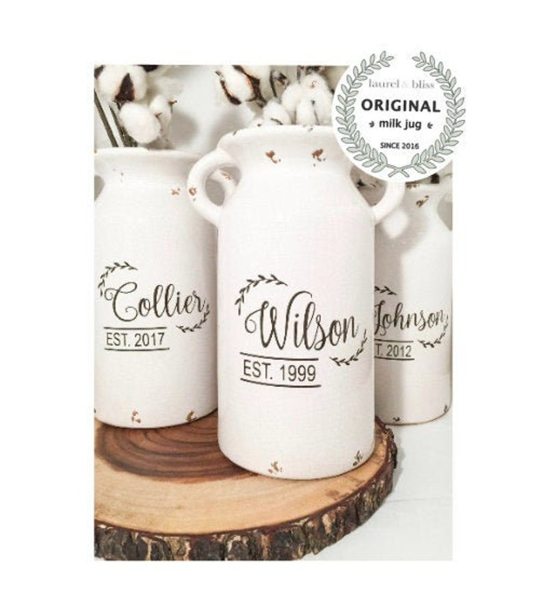 Personalized Ceramic Milk Can. Wedding Gift for the Newlyweds