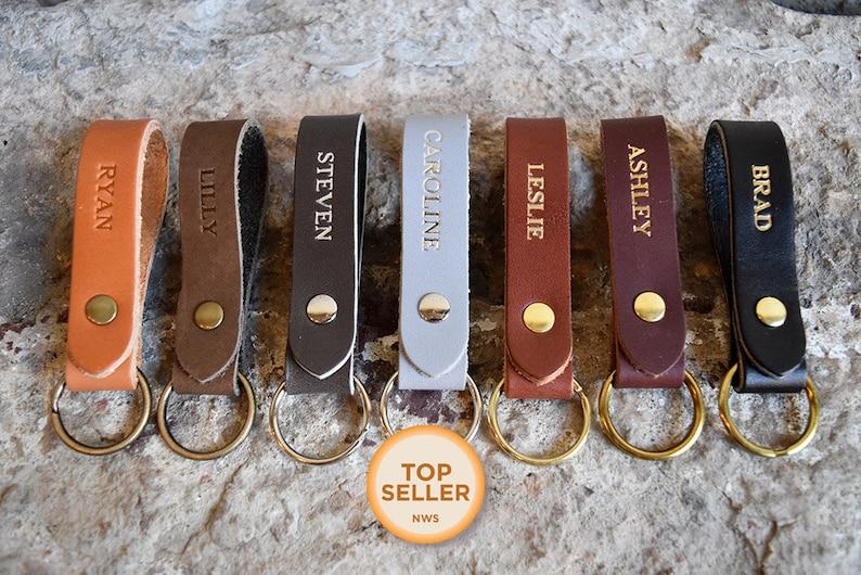 Personalized Leather Keychain. Custom Leather Keychain.