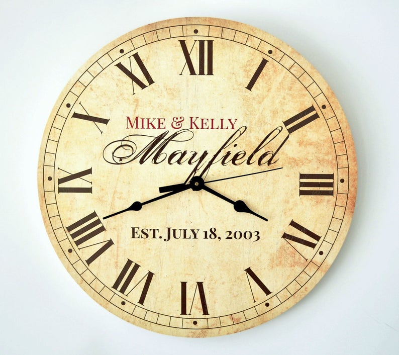 Personalized Rustic Clock 13 or 18 Diameter