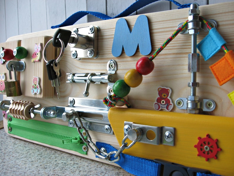 Personalized busy Board Small boat Toy for toddler Sensory