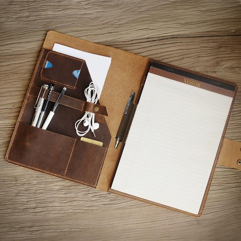 Personalized leather Portfolio Leather Notepad holder 8.5 x