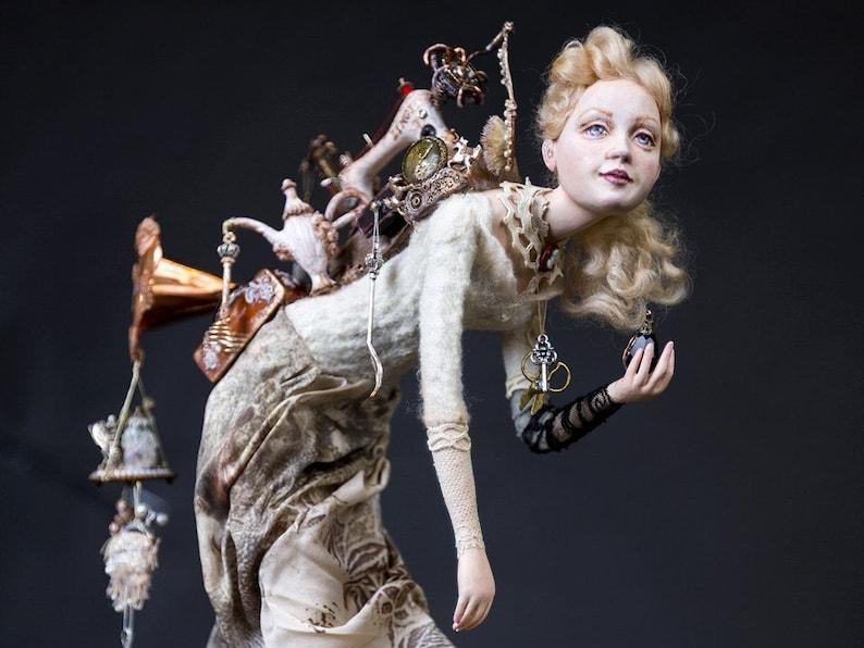 RETURNING from the FLEA MARKET. Art Etsy Doll. Interior ooak