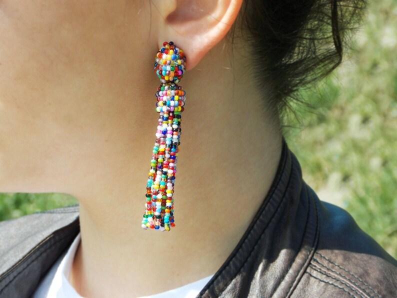 Rainbow multicolor tassel earrings clip Festival earrings for