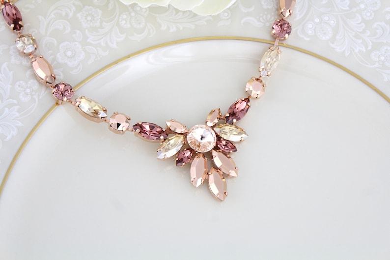 Rose gold Bridal necklace Blush Bridal jewelry Swarovski