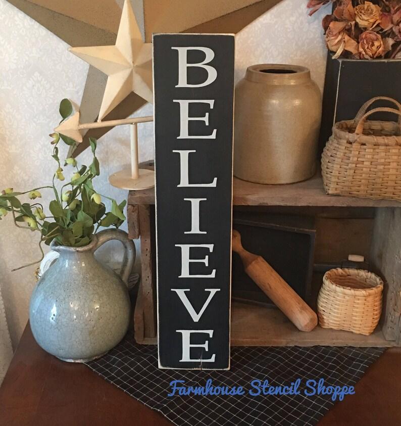 STENCIL Believe Vertical Stencil 5 x 24