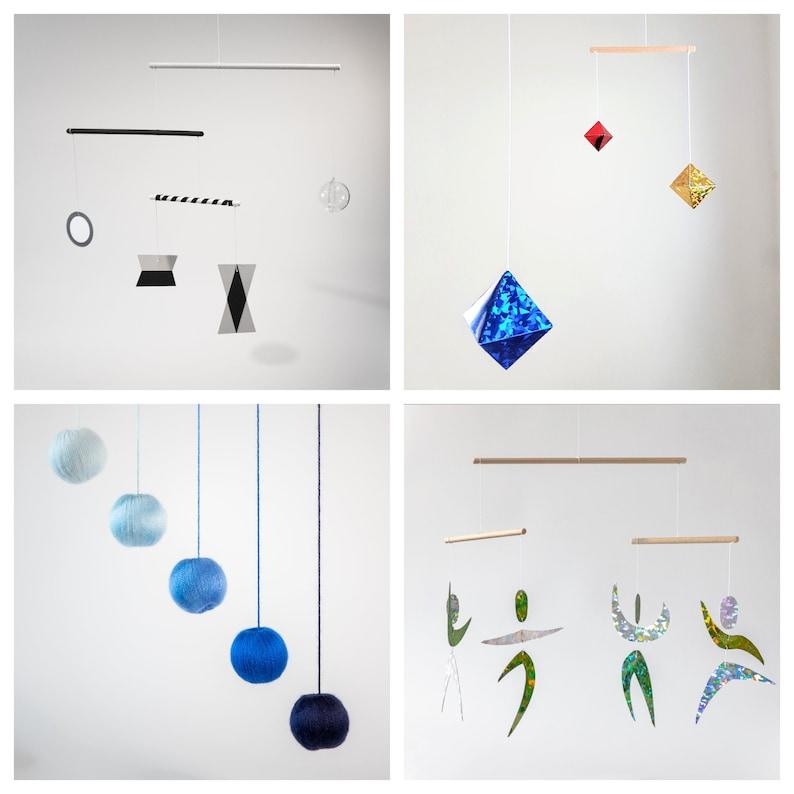 Set of 4 x montessori mobile  Munari blue Gobbi Octahedron