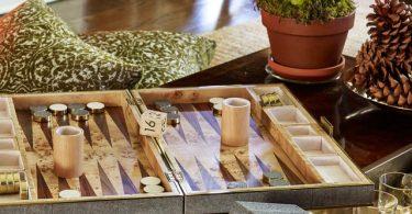 Shagreen Backgammon Set in Chocolate