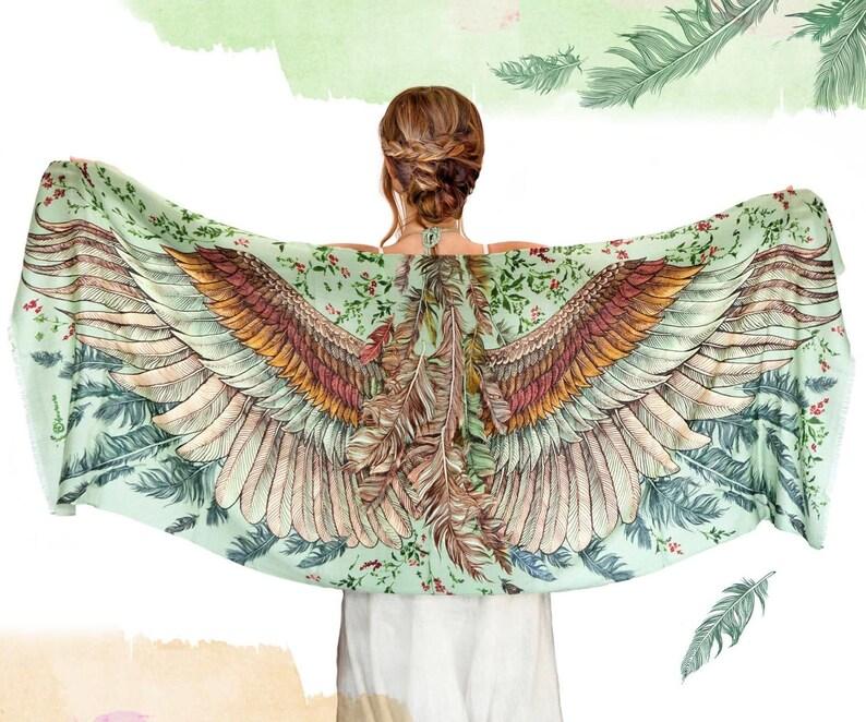 Silk Scarf Wings Scarf Bohemian Clothing Printed Shawl
